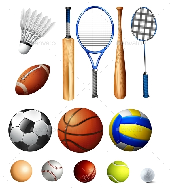 Different Kind of Balls and Bats - Sports/Activity Conceptual