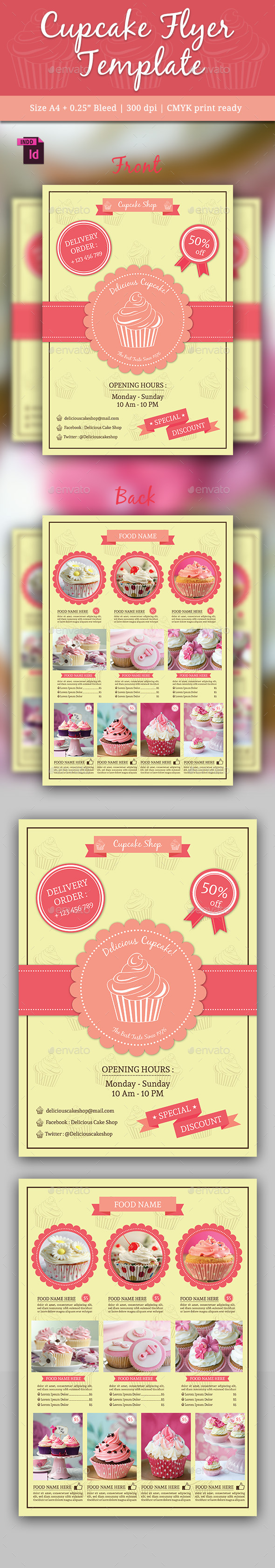 Cupcake Flyer Template Vol. 2 - Flyers Print Templates