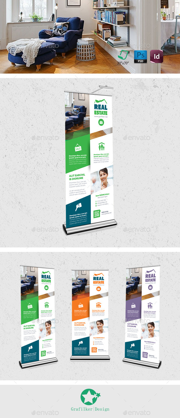 Real Estate Roll-Up Templates - Signage Print Templates