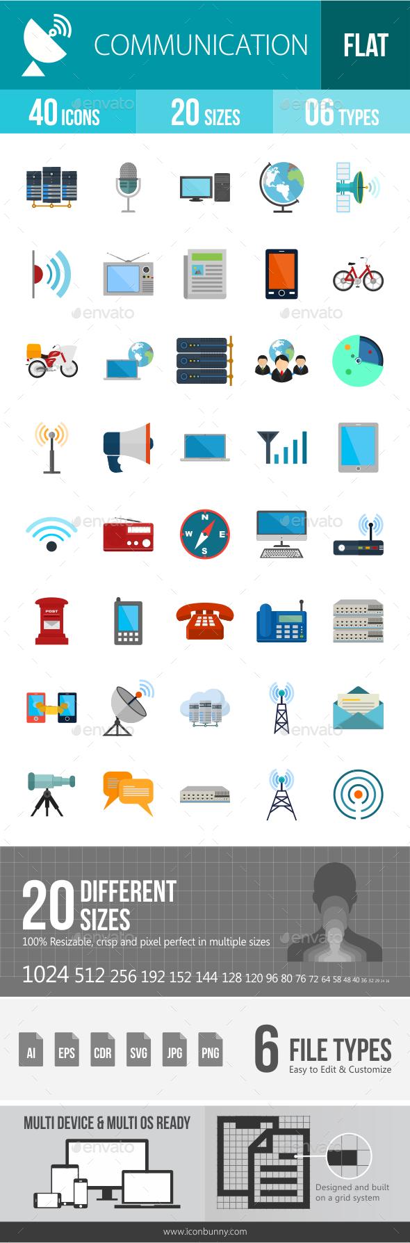 Communication Flat Multicolor Icons