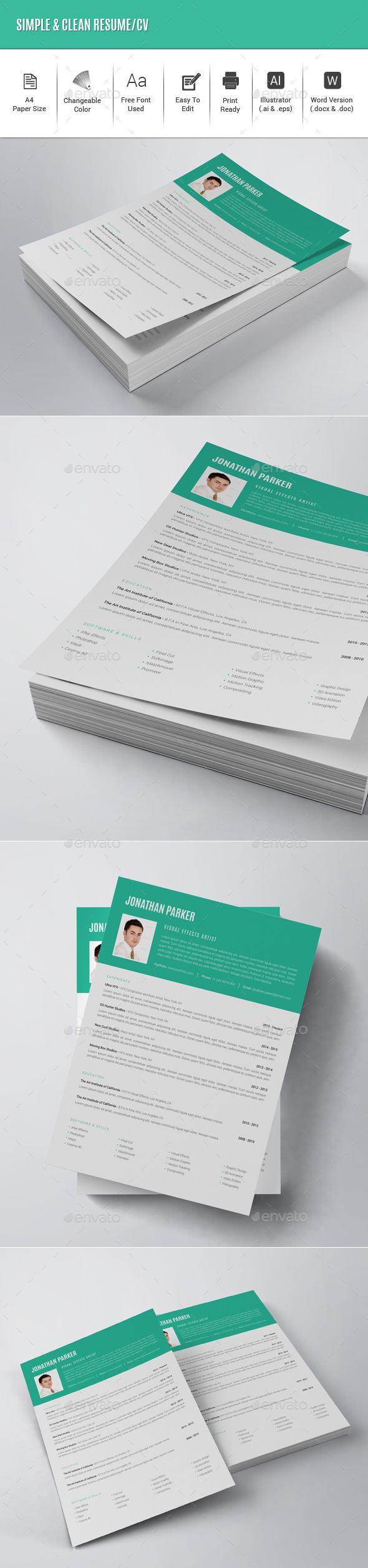 Simple & Clean Resume/CV - Resumes Stationery