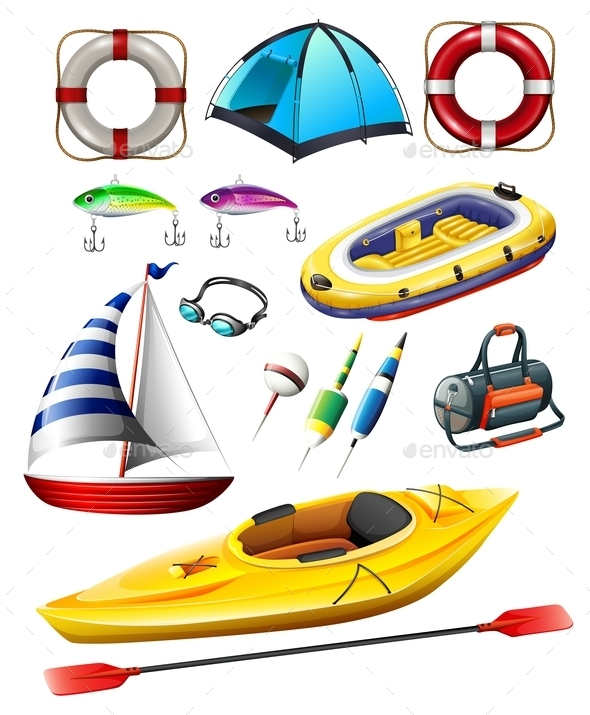 Fishing Equipments and Boats - Objects Vectors