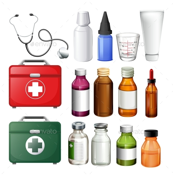 Medical Equipment and Containers - Objects Vectors