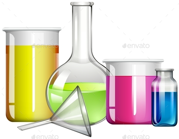 liquid Substance in Glass Containers - Objects Vectors