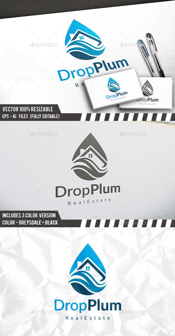 Drop House Clean Logo - Buildings Logo Templates