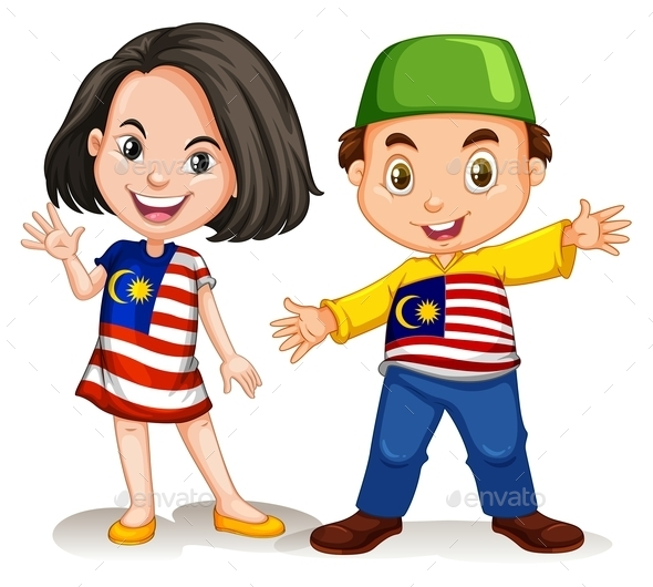 Malaysian Girl and Boy Greeting