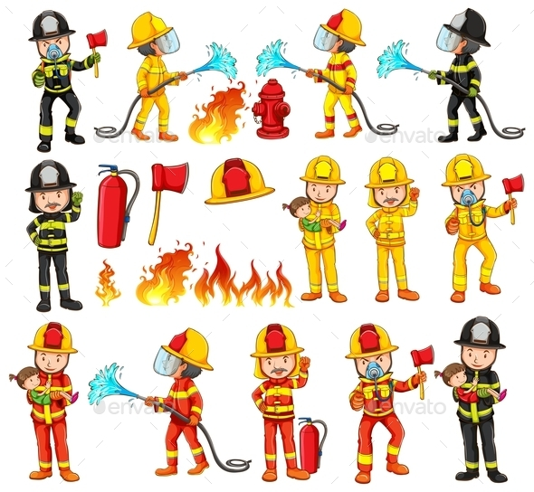 Firemen and Equipments Set - People Characters