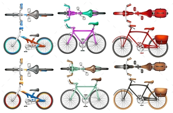 Different Kind of Bicycles - Objects Vectors