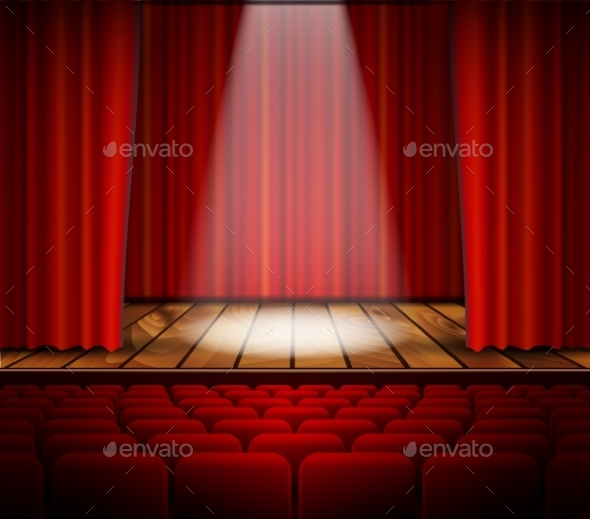 A Theater Stage With a Red Curtain - Backgrounds Decorative