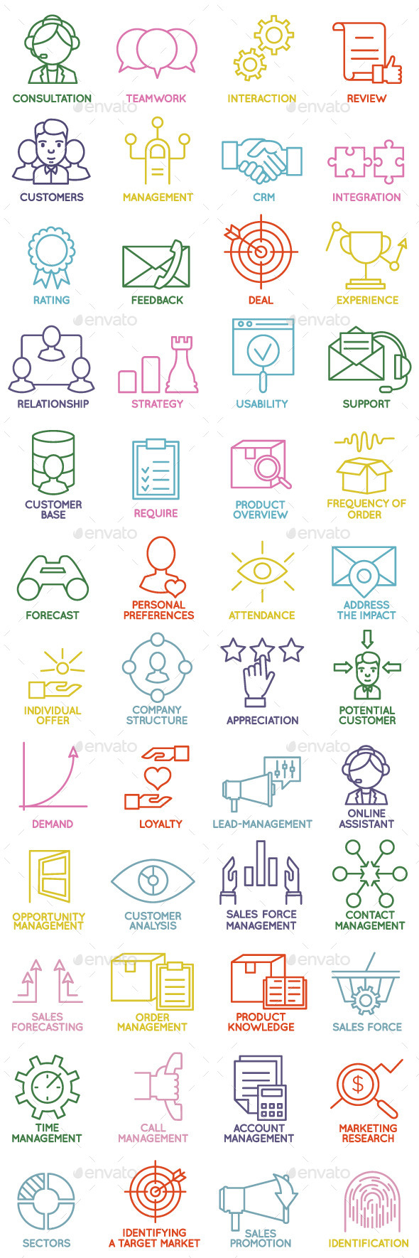 Customer Relationship Management Icons - Business Icons