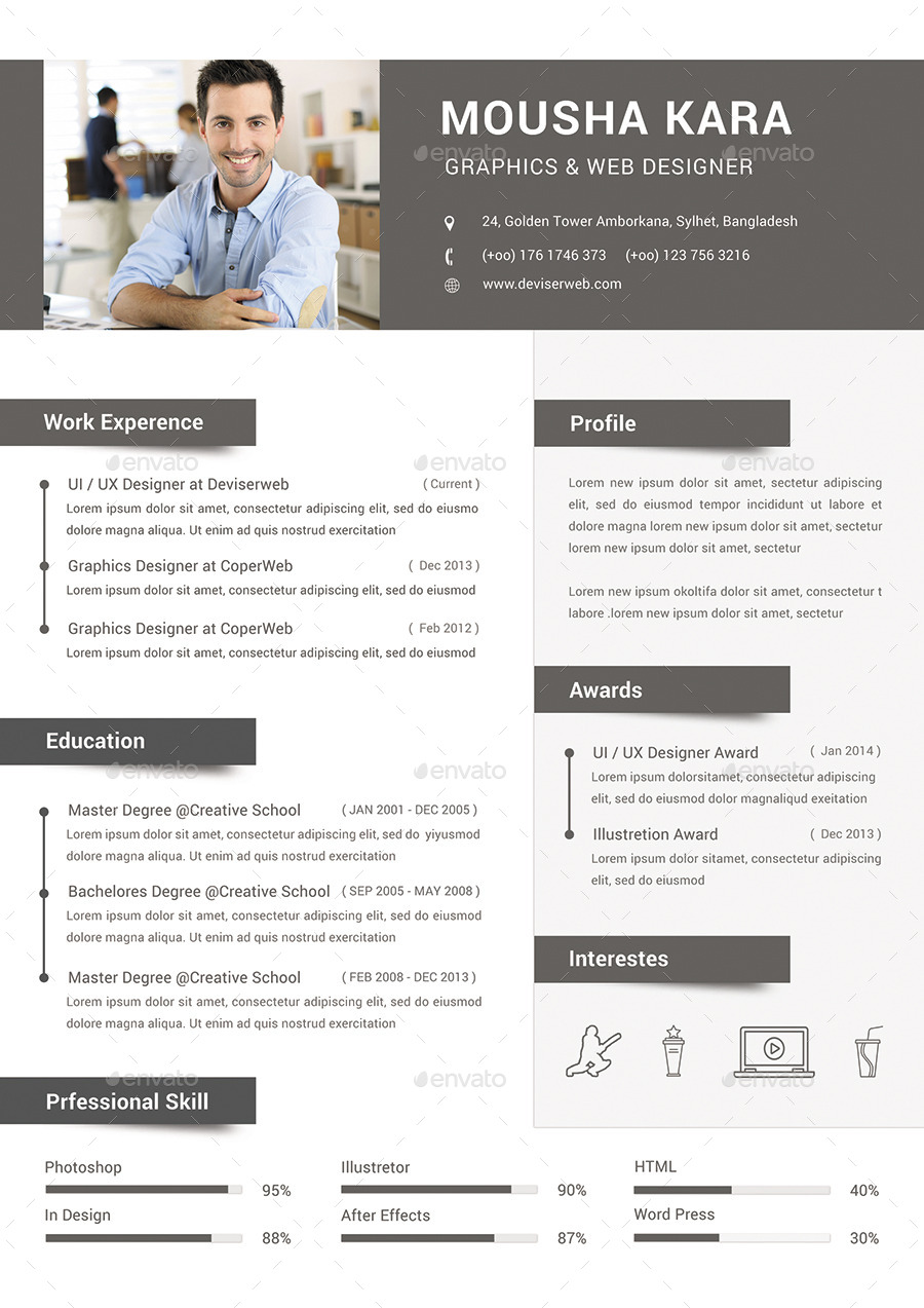 simple creative cv    resume  u0026 cover letter by redwanulhaque