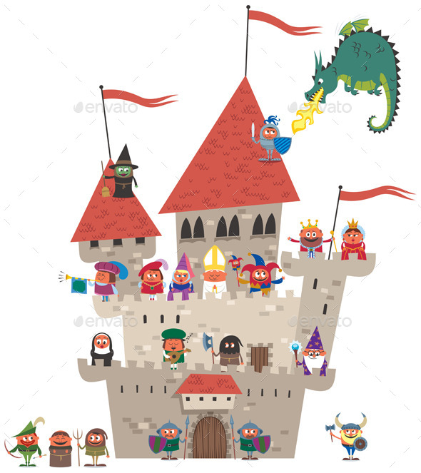 Small Kingdom on White - Characters Vectors