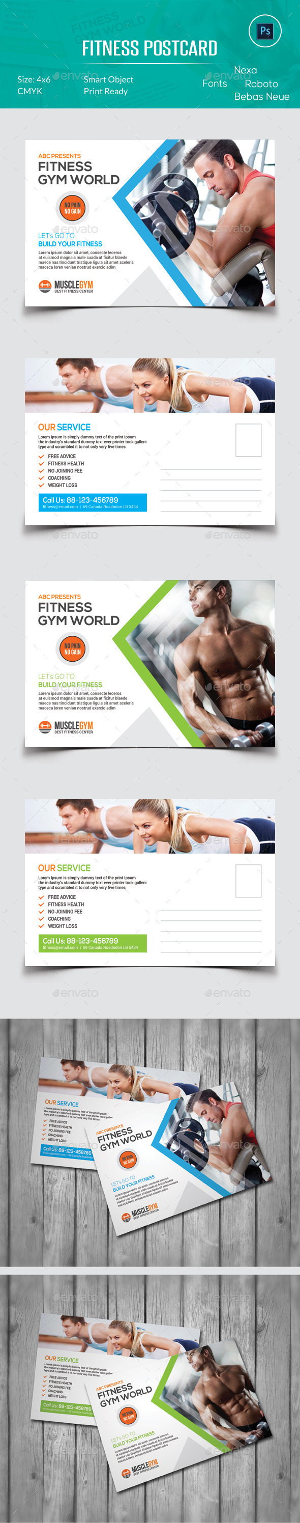 Fitness Postcard - Cards & Invites Print Templates