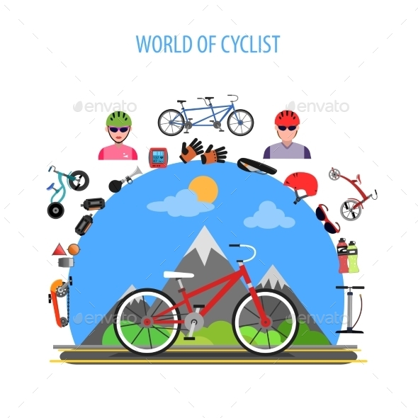 Cycling Concept Flat - Sports/Activity Conceptual