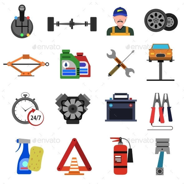 Car Service Icons Flat Set - Business Icons