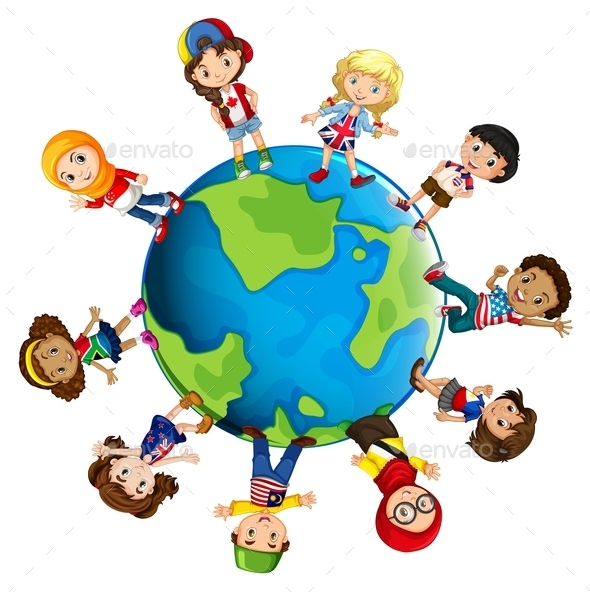 Children from Different Countries of the World - People Characters