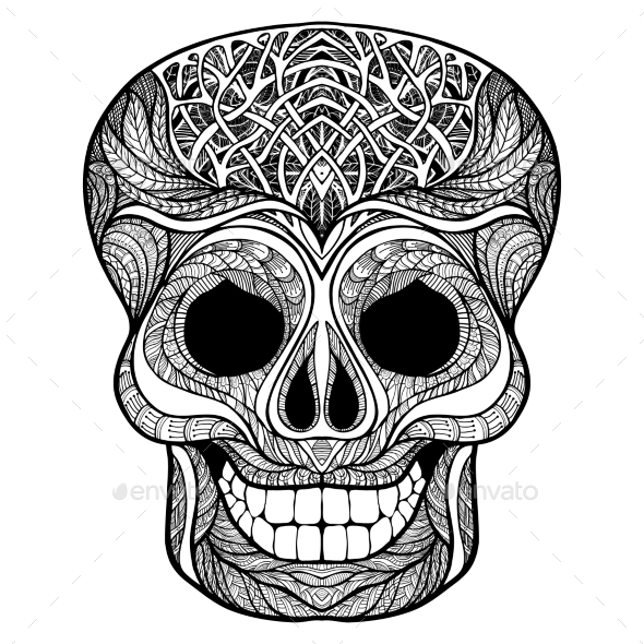 Decorative Skull Black Doodle Icon - Decorative Vectors
