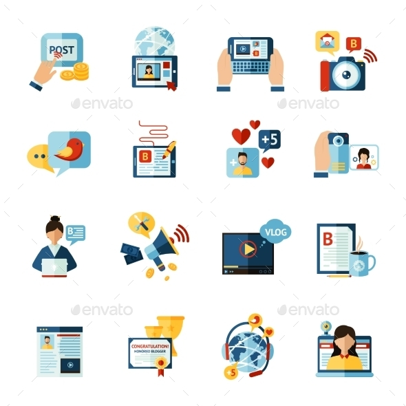 Blogger Icons Set - Communications Technology