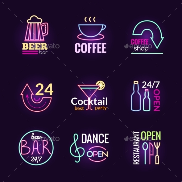 Neon Signs Set - Miscellaneous Vectors