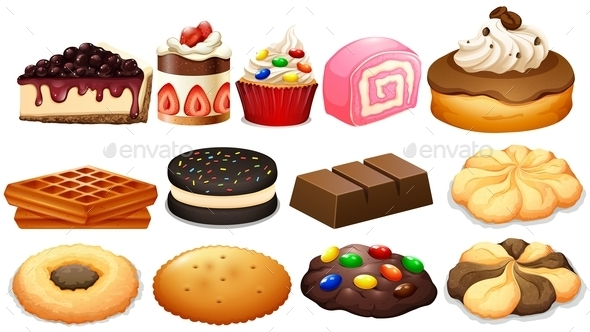 Dessert Set with Cake and Cookies - Food Objects