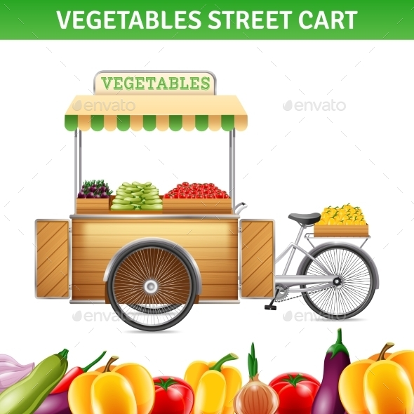 Vegetables Street Cart Illustration