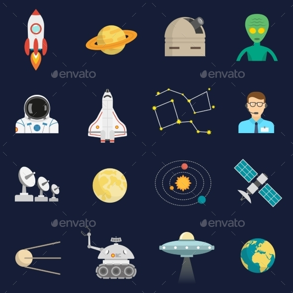 Space Cosmos Flat Icons Set - Miscellaneous Icons