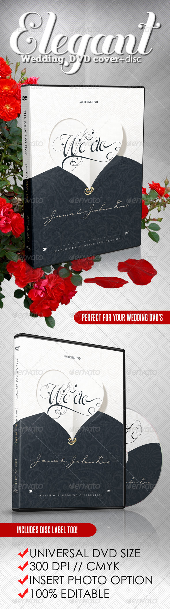 Elegant Wedding DVD Covers and Disc Label - CD & DVD Artwork Print Templates