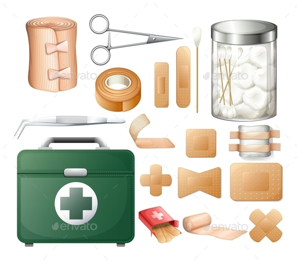 Medical Equipment in Firstaid Box - Objects Vectors