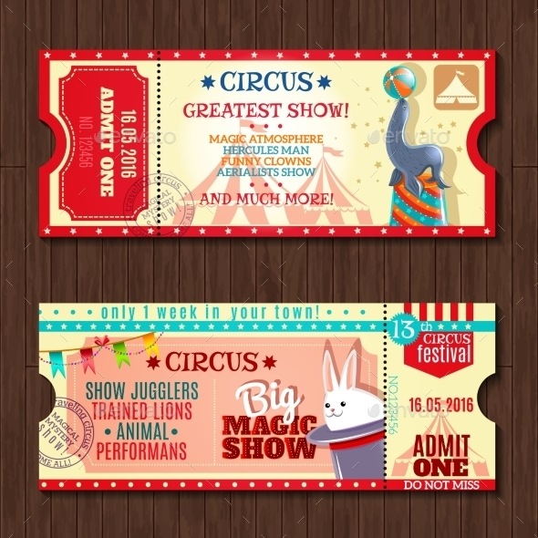 Circus Show Two Vintage Tickets Set - Objects Vectors