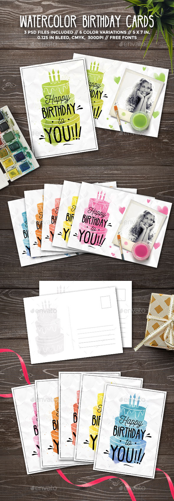 Watercolor Birthday Cards - Birthday Greeting Cards