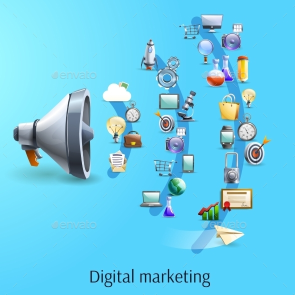 Digital Marketing Concept Flat Banner - Concepts Business