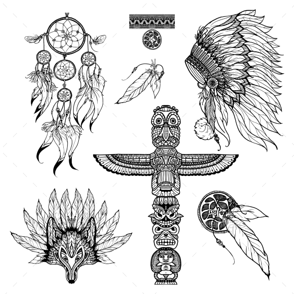Tribal Doodle Set - Animals Characters