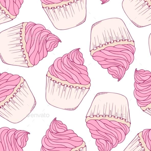 Hand Drawn Cupcake Seamless Pattern - Patterns Decorative