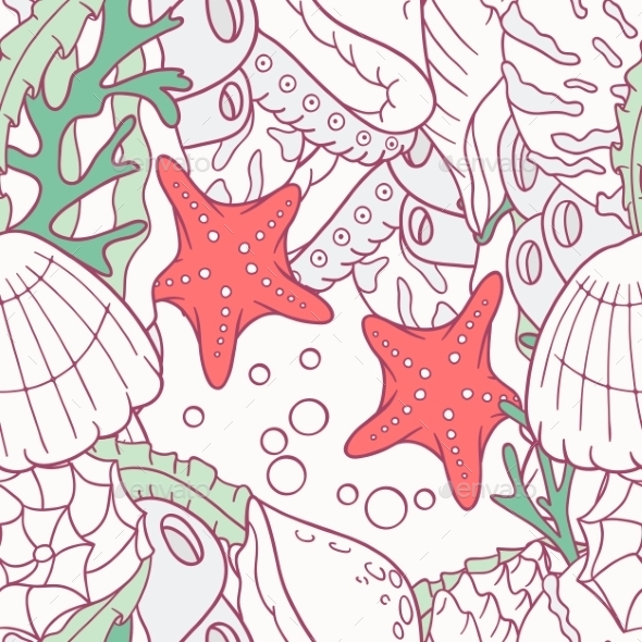 Doodle Sea Seamless Pattern With Starfish