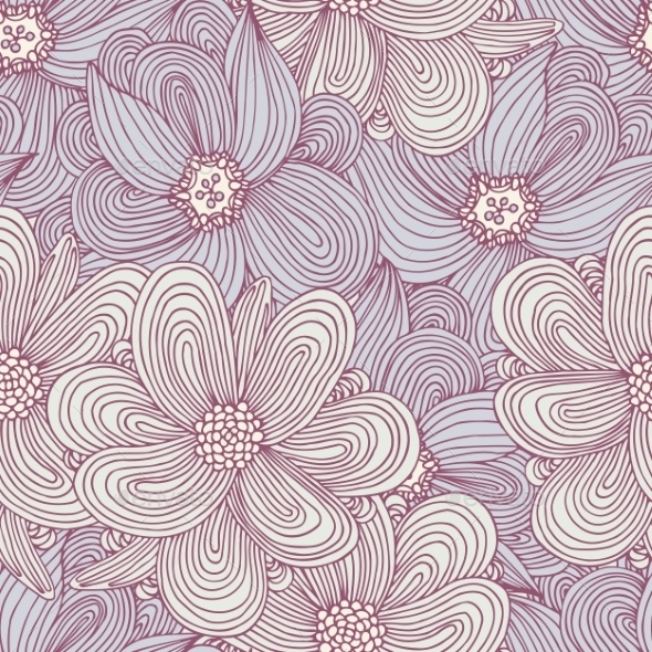 Doodle Style Flowers Seamless Pattern. Floral - Patterns Decorative