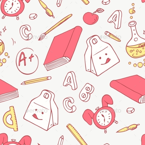 Back To School Doodle Supplies Background Hand
