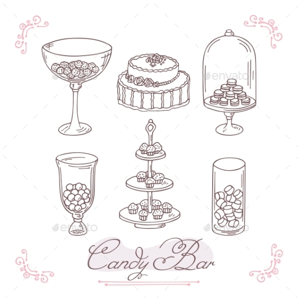 Set Of Candy Bar Objects Bakery Goods Clip Art
