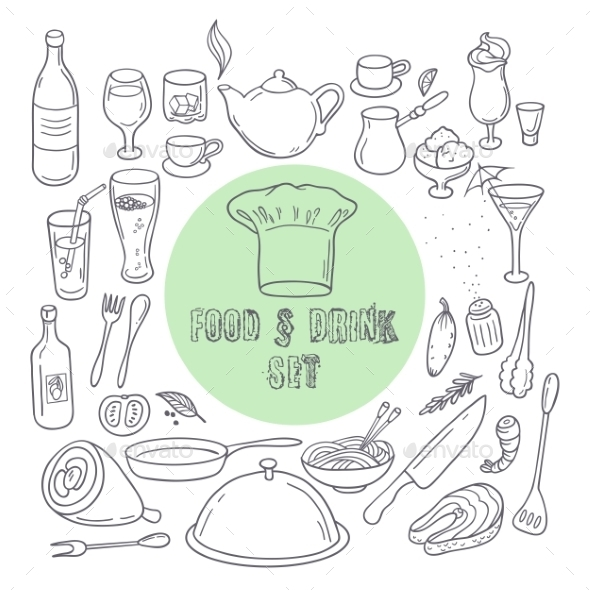 Food And Drink Outline Doodle Icons. Set Of Hand - Food Objects