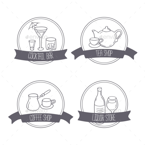 Hand Drawn Different Beverage Icon Logos. Doodle - Food Objects