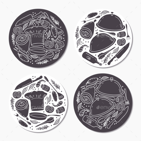 Round Stickers Set With Doodle Food Patterns. Hand - Food Objects