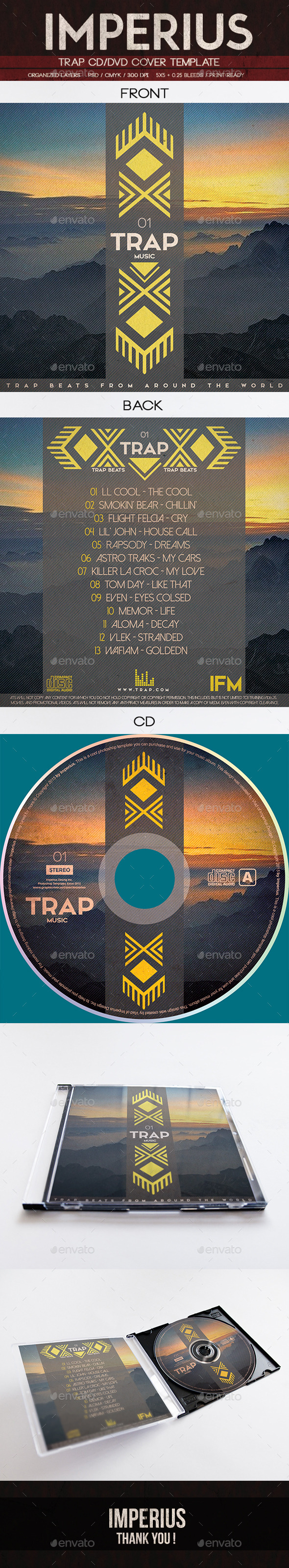 Trap CD/DVD Cover - CD & DVD Artwork Print Templates
