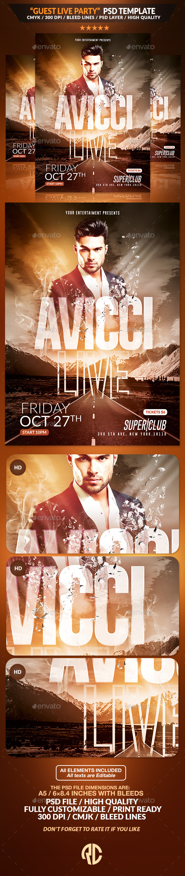 Guest Live Party | Psd Flyer Template - Events Flyers