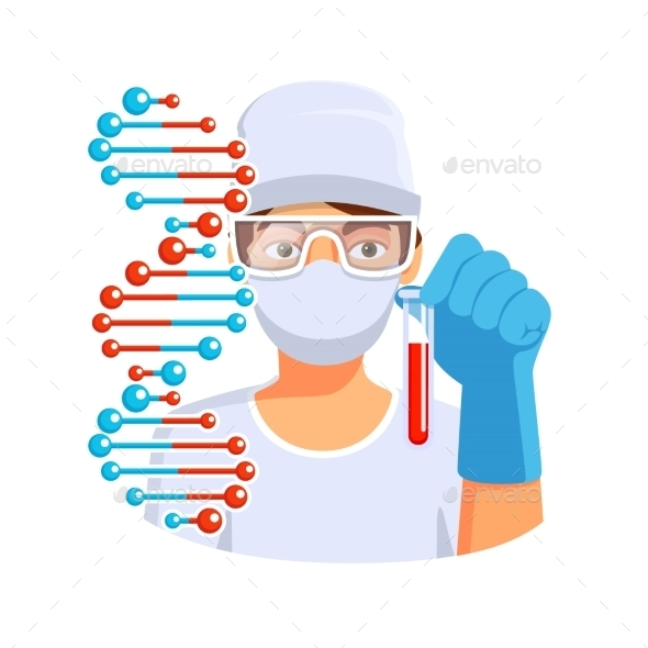 Doctor Holding Test Tube With Blood Dna In Hand