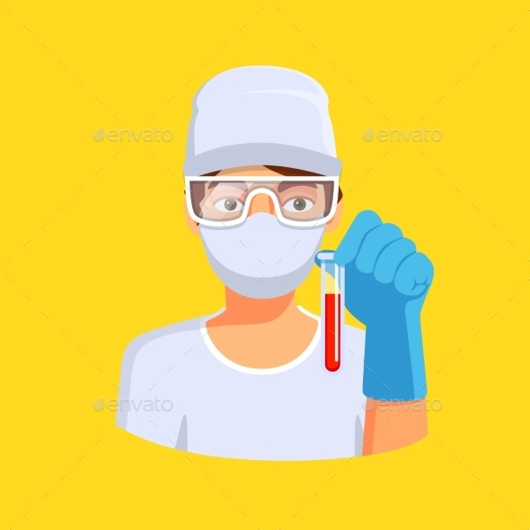Medical Lab Worker Holding Test Tube With Blood - Health/Medicine Conceptual
