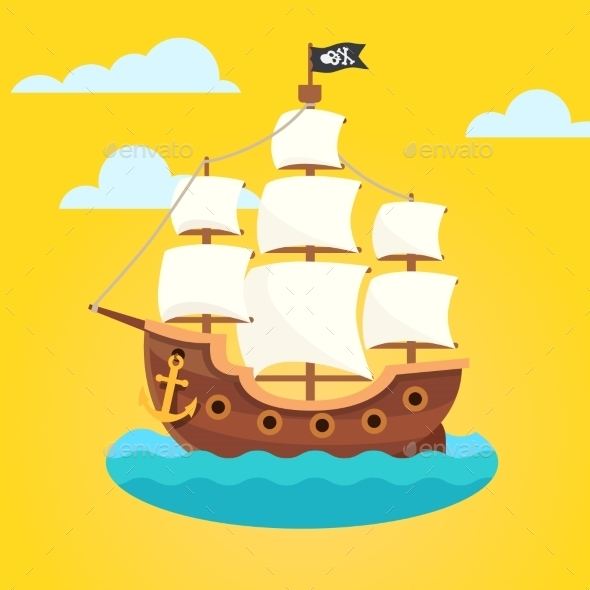 Pirate Ship With White Sails And Black Scull Flag - Backgrounds Decorative