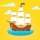 Pirate Ship With White Sails And Black Scull Flag - GraphicRiver Item for Sale