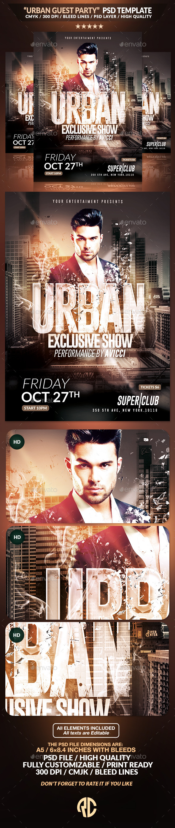 Urban Guest Party | Psd Flyer Template - Events Flyers
