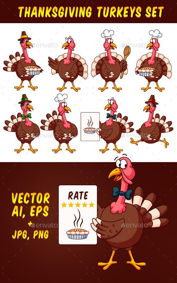 Thanksgiving Cartoon Turkeys Vector Set - Animals Characters