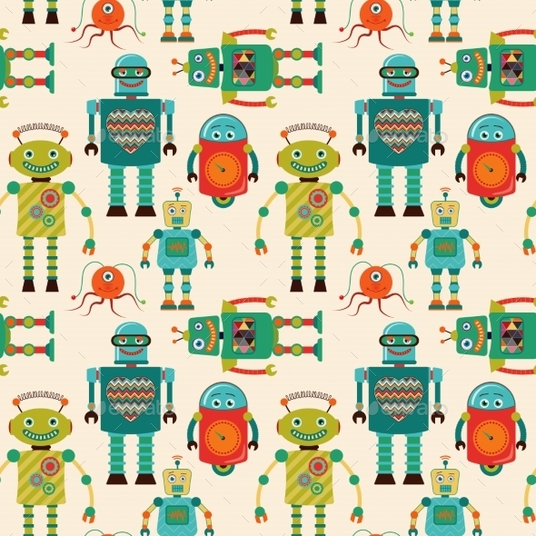 Seamless Pattern Background With Cute Retro Robots - Monsters Characters