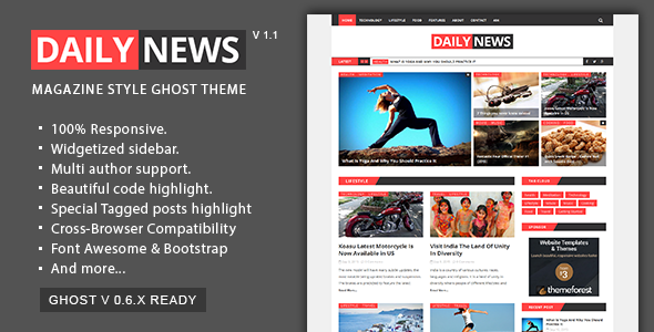 Daily News - Magazine and Blog Ghost Theme